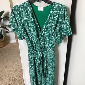 Green Polkadot Dress - L